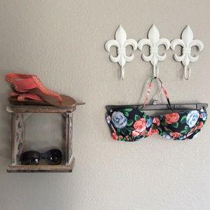 Aerie Blue Floral Underwire push-up Bikini Top 32D